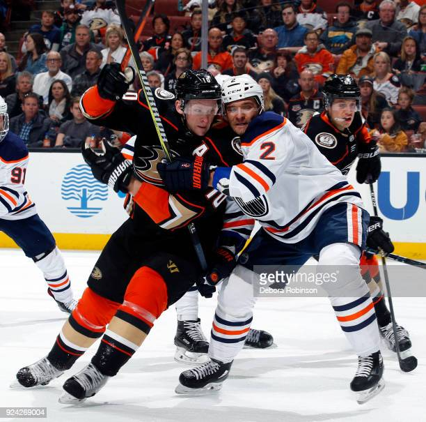 Corey Perry of the Anaheim Ducks battles for position against Andrej Sekera of the Edmonton Oilers during the game on February 25 2018 at Honda...