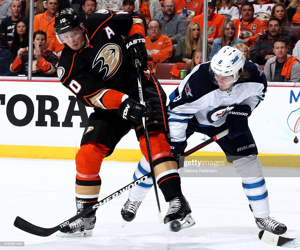 Corey Perry #10 of the Anaheim Ducks battles for position against Jacob Trouba #8 of the Winnipeg Jets in Game Two of the Western Conference Quarterfinals between the Ducks and Jets during the 2015 NHL Stanley Cup Playoffs at Honda Center on April 18, 2015 in Anaheim, California.