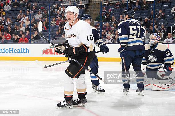Corey Perry of the Anaheim Ducks celebrates after his team scores their first of two goals during the second period on October 27, 2013 at Nationwide...