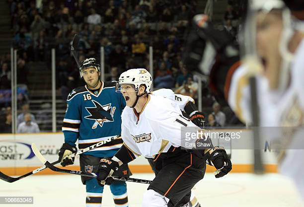 Corey Perry of the Anaheim Ducks celebrates after teammate Lubomir Visnovsky scored the winning goal in overtime of their game against the San Jose...