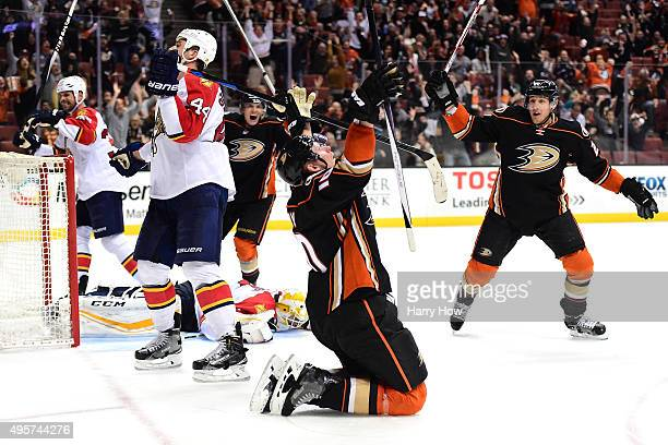 Corey Perry of the Anaheim Ducks celebrates his goal with Shawn Horcoff to tie the game 2-2 with the Florida Panthers with five seconds remaining in...