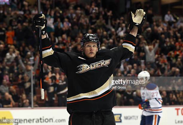 Corey Perry of the Anaheim Ducks celebrates his second goal of the game against the Edmonton Oilers in the third period at Honda Center on April 2...