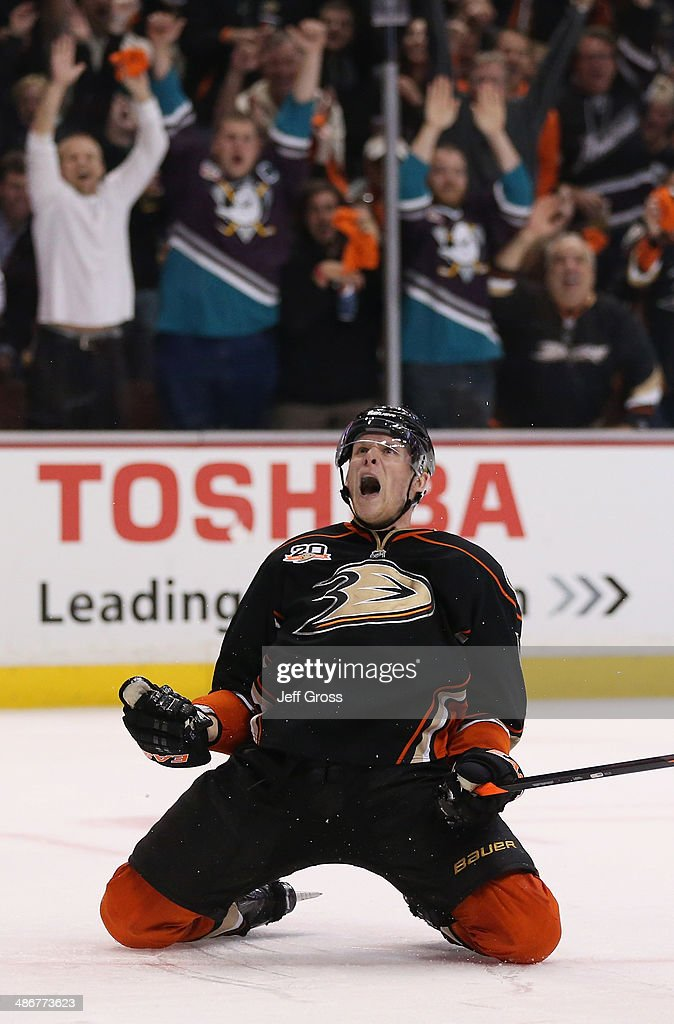 Corey Perry #10 of the Anaheim Ducks celebrates his third period goal against the Dallas Stars in Game Five of the First Round of the 2014 NHL Stanley Cup Playoffs at Honda Center on April 25, 2014 in Anaheim, California. The Ducks defeated the Stars 6-2.
