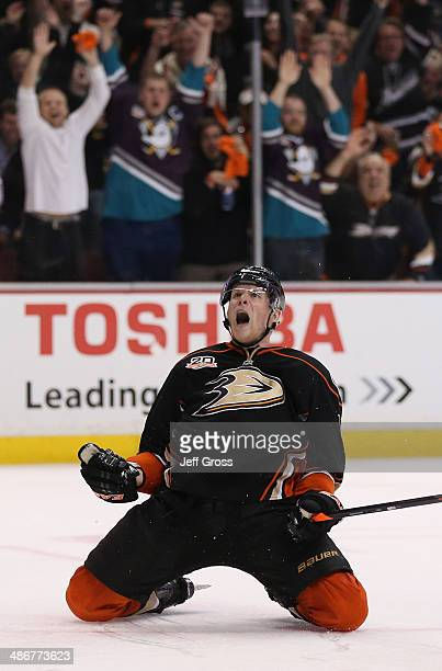Corey Perry of the Anaheim Ducks celebrates his third period goal against the Dallas Stars in Game Five of the First Round of the 2014 NHL Stanley...