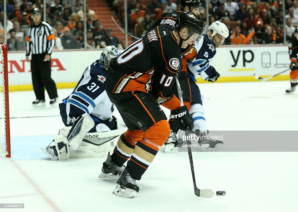 Corey Perry #10 of the Anaheim Ducks controls the puck against the Winnipeg Jets in Game Two of the Western Conference Quarterfinals during the 2015 NHL Stanley Cup Playoffs at Honda Center on April 18, 2015 in Anaheim, California. The Ducks won 2-1.