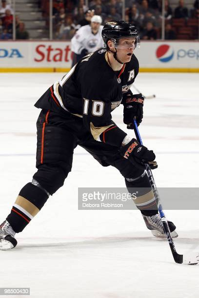 Corey Perry of the Anaheim Ducks handles the puck against the Edmonton Oilers during the game on April 11 2010 at Honda Center in Anaheim California