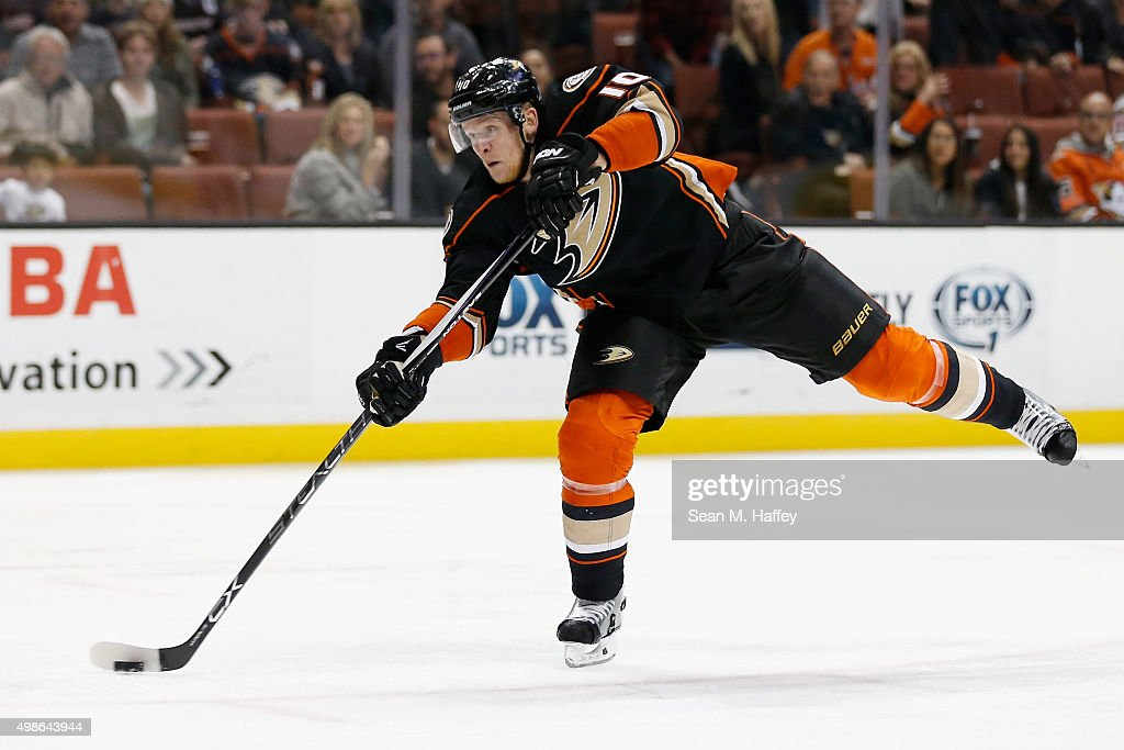 Corey Perry #10 of the Anaheim Ducks shoots and scores during the third period of a game against the Calgary Flames at Honda Center on November 24, 2015 in Anaheim, California.