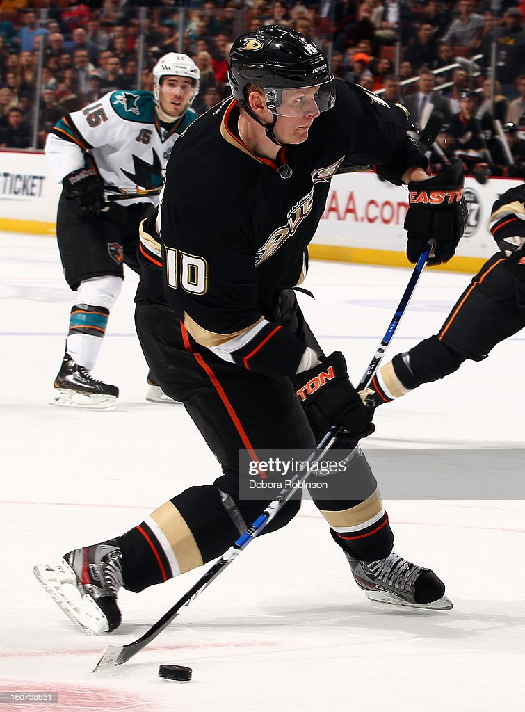 Corey Perry #10 of the Anaheim Ducks shoots the puck during the game against the San Jose Sharks on February 4, 2013 at Honda Center in Anaheim, California.