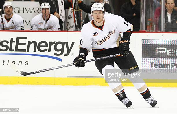 Corey Perry of the Anaheim Ducks skates against the Pittsburgh Penguins during the game at Consol Energy Center on November 18, 2013 in Pittsburgh,...