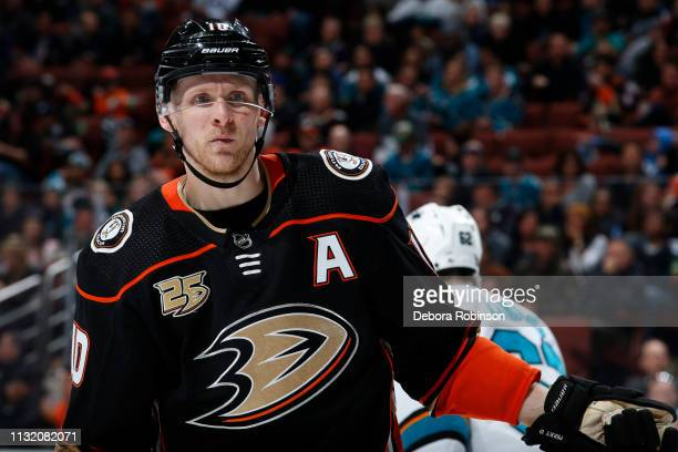 Corey Perry of the Anaheim Ducks skates during the game against the San Jose Sharks on March 22 2019 at Honda Center in Anaheim California