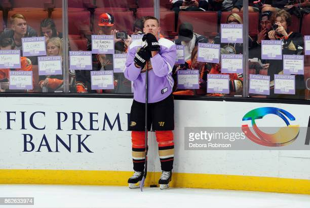 6760c3347cb Corey Perry of the Anaheim Ducks skates in warmups during Hockey Fights  Cancer night against the
