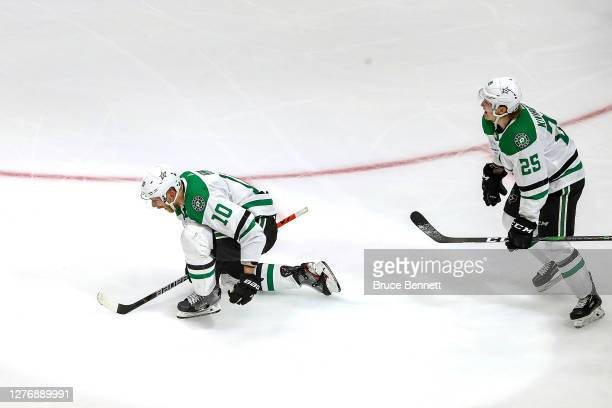 Corey Perry of the Dallas Stars celebrates after scoring the gamewinning goal against the Tampa Bay Lightning during the second overtime period to...