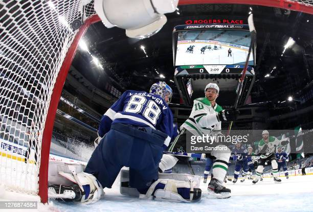 Corey Perry of the Dallas Stars scores against goaltender Andrei Vasilevskiy of the Tampa Bay Lightning in the first period of Game Five of the 2020...
