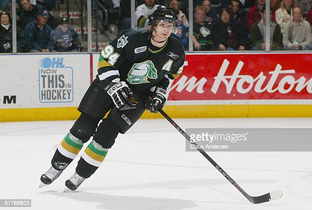 Corey Perry of the London Knights skates against the Owen Sound Attack during an OHL game at the John Labatt Center on October 15 2004 in London...