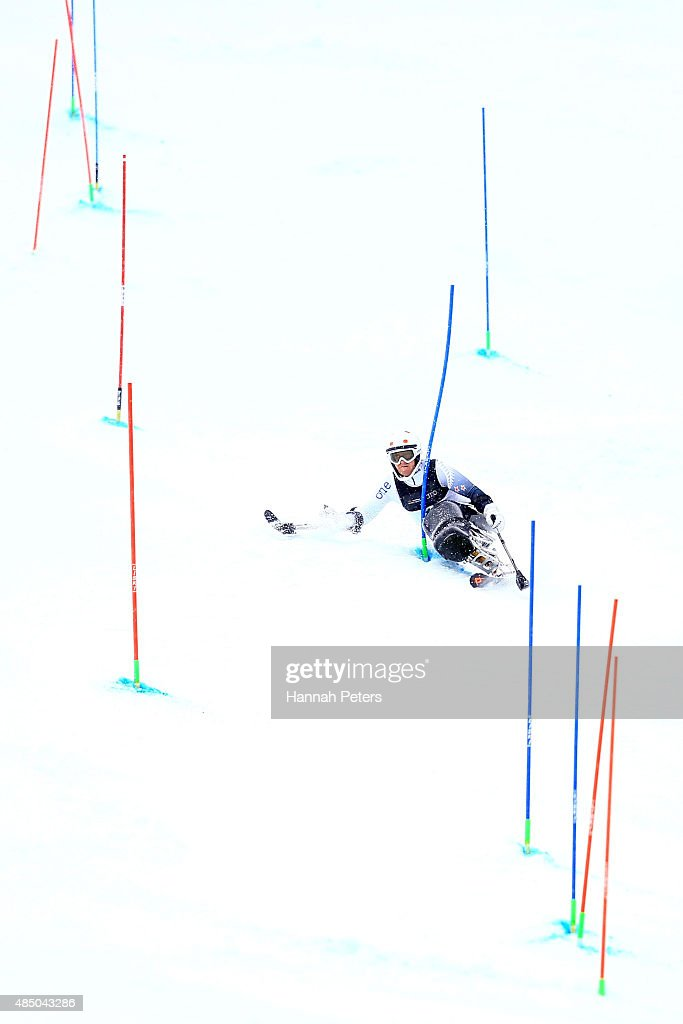 Corey Peters of New Zealand competes in the Men Slalom Sitting LW12-1 in the IPC Alpine Adaptive Slalom Southern Hemisphere Cup during the Winter Games NZ at Coronet Peak on August 24, 2015 in Queenstown, New Zealand.