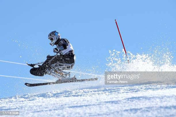 Corey Peters of New Zealand competes in the Mens Slalom Sitting LW121 race during the IPC Alpine Adaptive Slalom World Cup on day eight of the Winter...