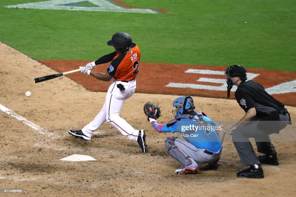 Corey Ray #2 of the Milwaukee Brewers and the U.S. Team swings at a pitch against the World Team during the SiriusXM All-Star Futures Game at Marlins Park on July 9, 2017 in Miami, Florida.