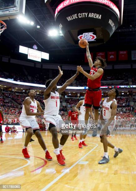 Corey Sanders of the Rutgers Scarlet Knights attempts a lay up during the game between the Ohio State Buckeyes and the Rutgers Scarlet Knights at the...