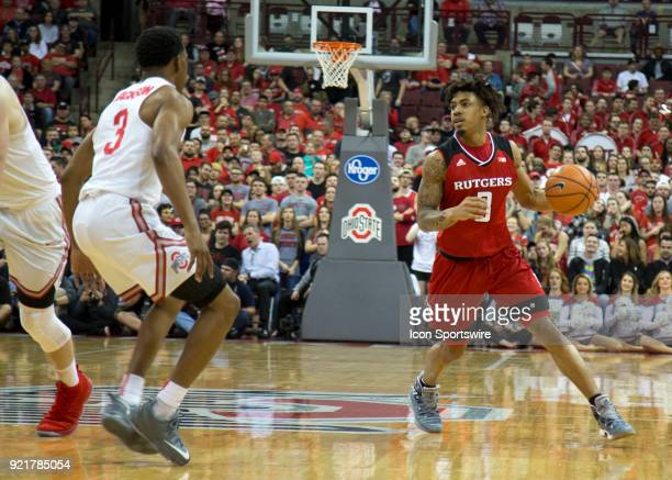 Corey Sanders of the Rutgers Scarlet Knights controls the ball during the game between the Ohio State Buckeyes and the Rutgers Scarlet Knights at the...