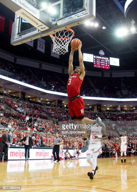 Corey Sanders of the Rutgers Scarlet Knights dunks the ball during the game between the Ohio State Buckeyes and the Rutgers Scarlet Knights at the...