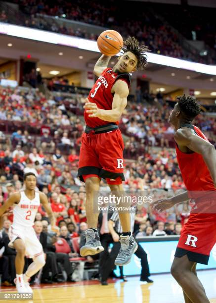 Corey Sanders of the Rutgers Scarlet Knights grabs a rebound during the game between the Ohio State Buckeyes and the Rutgers Scarlet Knights at the...