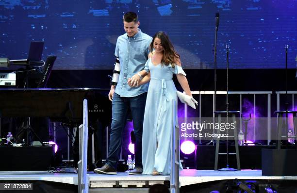 Corey Seager and Madisyn Van Ham attend the Fourth Annual Los Angeles Dodgers Foundation Blue Diamond Gala at Dodger Stadium on June 11, 2018 in Los...