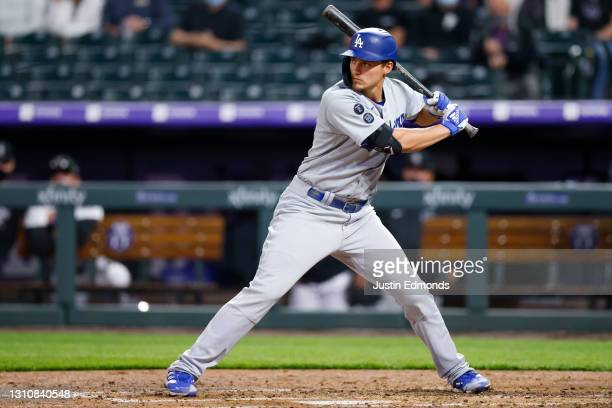 Corey Seager of the Los Angeles Dodgers bats during the third inning against the Colorado Rockies at Coors Field on April 2, 2021 in Denver, Colorado.