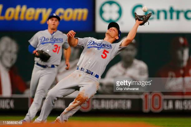 Corey Seager of the Los Angeles Dodgers catches a pop fly against the St Louis Cardinals third inning at Busch Stadium on April 8 2019 in St Louis...