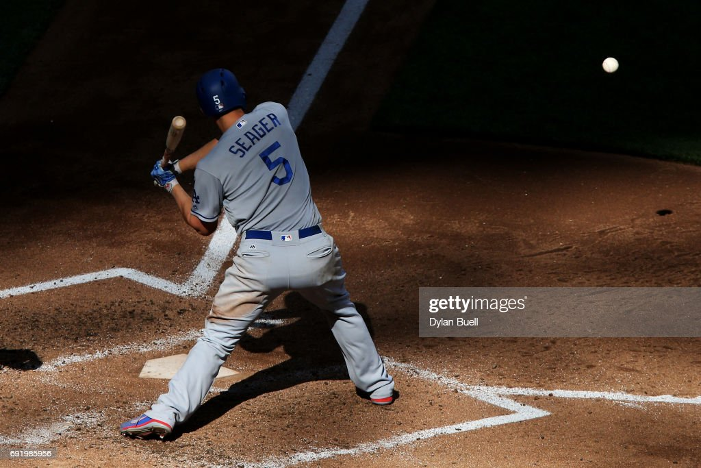 Corey Seager #5 of the Los Angeles Dodgers grounds out in the fifth inning against the Milwaukee Brewers at Miller Park on June 3, 2017 in Milwaukee, Wisconsin.
