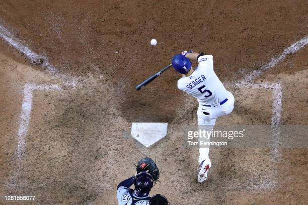 Corey Seager of the Los Angeles Dodgers hits a solo home run against the Tampa Bay Rays during the eighth inning in Game Two of the 2020 MLB World...