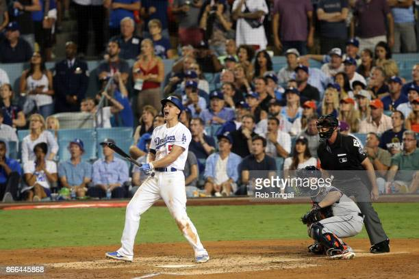 Corey Seager of the Los Angeles Dodgers hits a tworun homer in the sixth inning during Game 2 of the 2017 World Series against the Houston Astros at...
