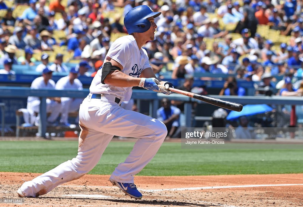 Corey Seager #5 of the Los Angeles Dodgers hits his second double of the game in the third inning against the San Francisco Giants at Dodger Stadium on July 29, 2017 in Los Angeles, California.