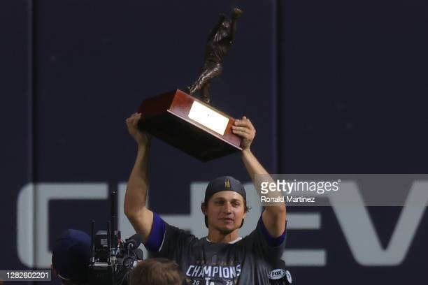 Corey Seager of the Los Angeles Dodgers is presented the Willie Mays World Series Most Valuable Player Award after defeating the Tampa Bay Rays 3-1...