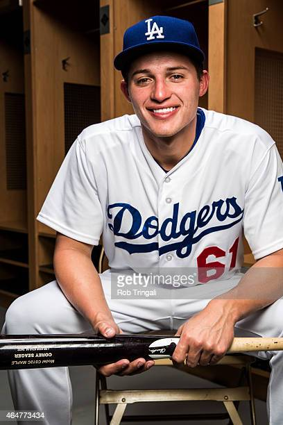Corey Seager of the Los Angeles Dodgers poses for a portrait during spring training photo day at Camelback Ranch on February 28 2015 in Glendale...