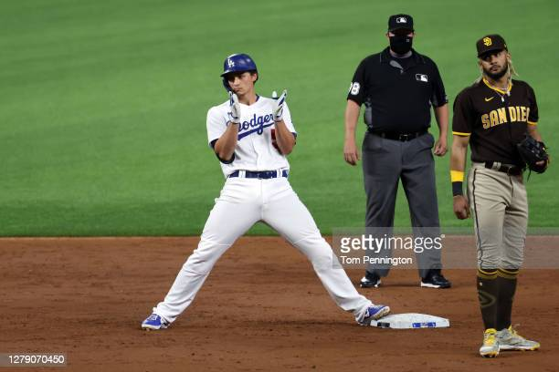 Corey Seager of the Los Angeles Dodgers reacts after hitting a two-run RBI double during the third inning against the San Diego Padres in Game Two of...
