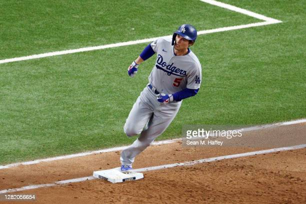 Corey Seager of the Los Angeles Dodgers rounds the bases after hitting a solo home run against the Tampa Bay Rays during the third inning in Game...