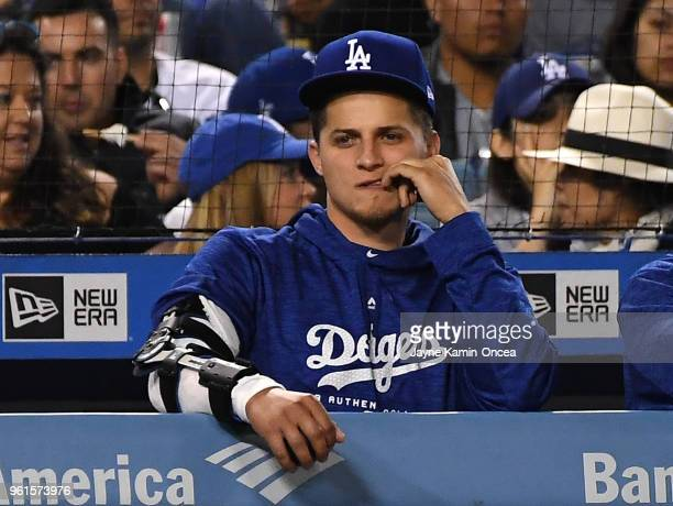 Corey Seager of the Los Angeles Dodgers watches the game against the Colorado Rockies at Dodger Stadium on May 22 2018 in Los Angeles California