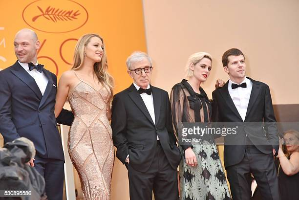 "Corey Stoll, actress Blake Lively, director Woody Allen, actress Kristen Stewart and actor Jesse Eisenberg attend the screening of ""Cafe Society"" at..."
