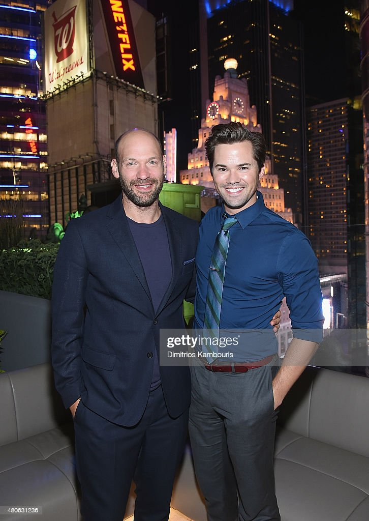 Corey Stoll and Andrew Rannells attend the after party for Marvel's screening of 'Ant-Man' hosted by The Cinema Society and Audi at St. Cloud at the Knickerbocker Hotel on July 13, 2015 in New York City.