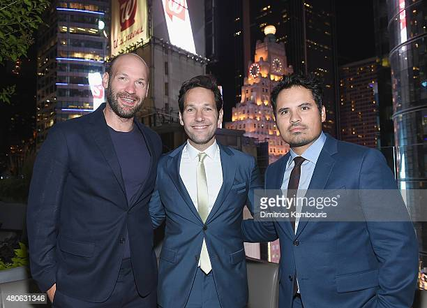 """Corey Stoll, Paul Rudd and Michael Pena attend the after party for Marvel's screening of """"Ant-Man"""" hosted by The Cinema Society and Audi at St. Cloud..."""