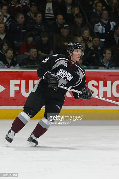 Corey Syvret of the Guelph Storm skates in game against the London Knights played at the John Labatt Centre on February 1 2007 in London Ontario...