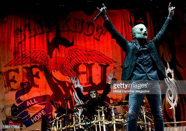 Corey Taylor and Joey Jordison of American metal group Slipknot performing live on stage at Download Festival on June 13 2009 at Donington Park