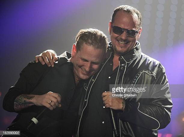 Corey Taylor and Tim Ripper Owens perform on stage during the Marshall 50 Years Of Loud concert celebrating Marshall Amp's 50th Anniversary at...