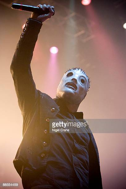 Corey Taylor lead singer of American metal band Slipknot performs on stage at the Hammersmith Apollo in London on December 2 2008