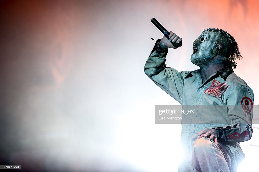Corey Taylor of Slipknot performs headlining at Day 1 of The Download Festival at Donnington Park on June 14, 2013 in Donnington, England.