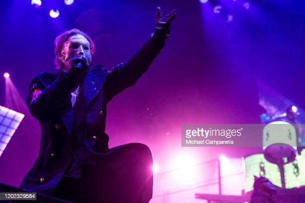 Corey Taylor of Slipknot performs in concert at the Ericsson Globe Arena on February 21 2020 in Stockholm Sweden