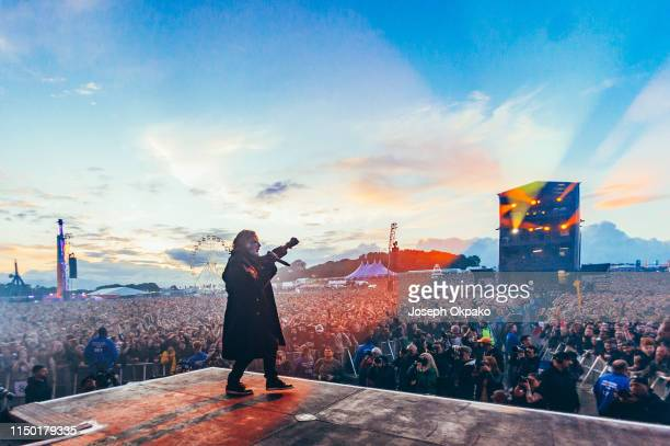 Corey Taylor of Slipknot performs on stage during day 2 of Download festival 2019 at Donington Park on June 14 2019 in Castle Donington England