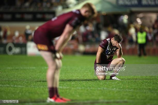 Corey Waddell of the Sea Eagles reacts after the during the round 17 NRL match between the Manly Sea Eagles and the Wests Tigers at Lottoland on...