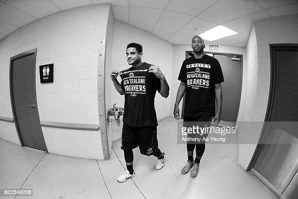 Corey Webster and Akil Mitchell of the Breakers walk out the players tunnel prior to the round six NBL match between the New Zealand Breakers and the...
