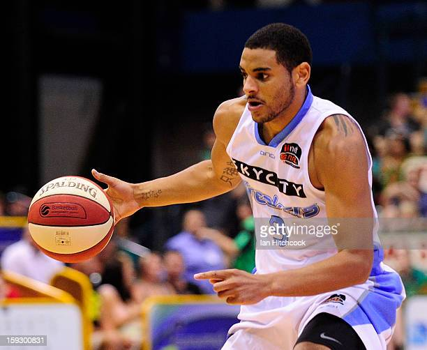Corey Webster of the Breakers dribbles the ball during the round 14 NBL match between the Townsville Crocodiles and the New Zealand Breakers at...